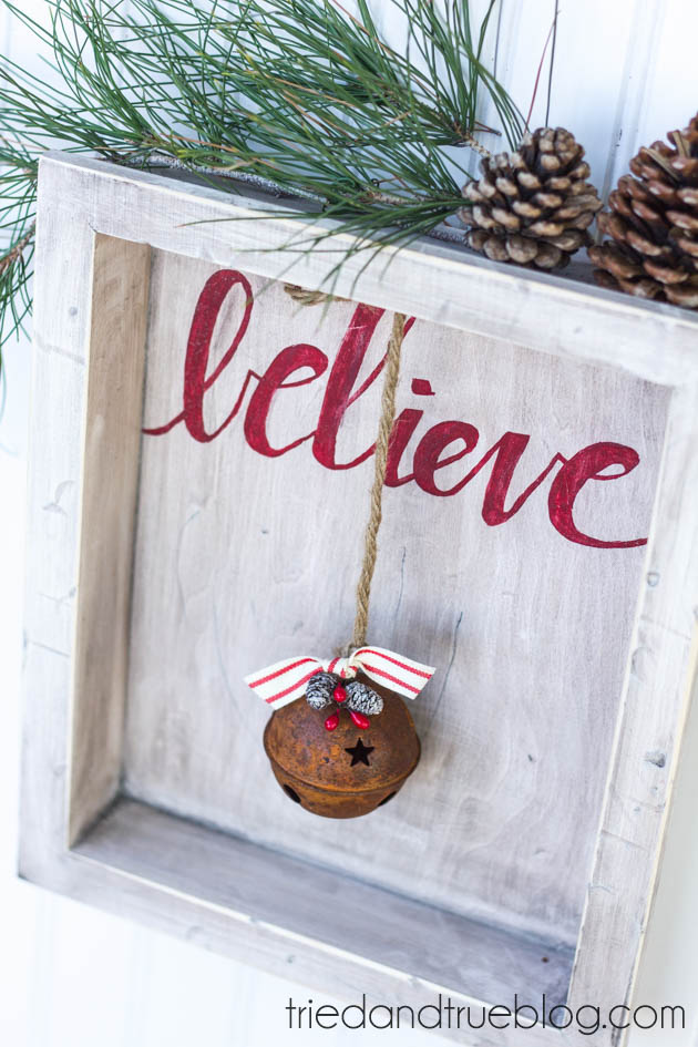DIY Believe Sign to make for Christmas! thirtyhandmadedays.com
