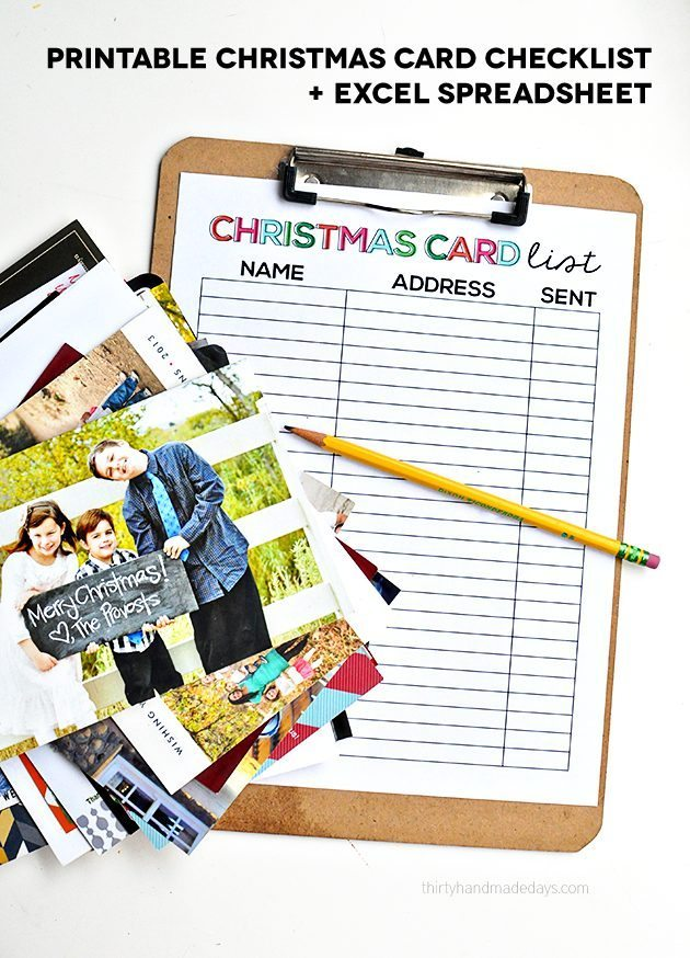 picture regarding Printable Christmas Card List identified as Printable Xmas Card Record