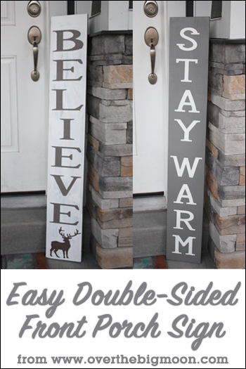 Have fun making these Christmas signs - they are double sided and can stay up through the winter! via www.thirtyhandmadedays.com