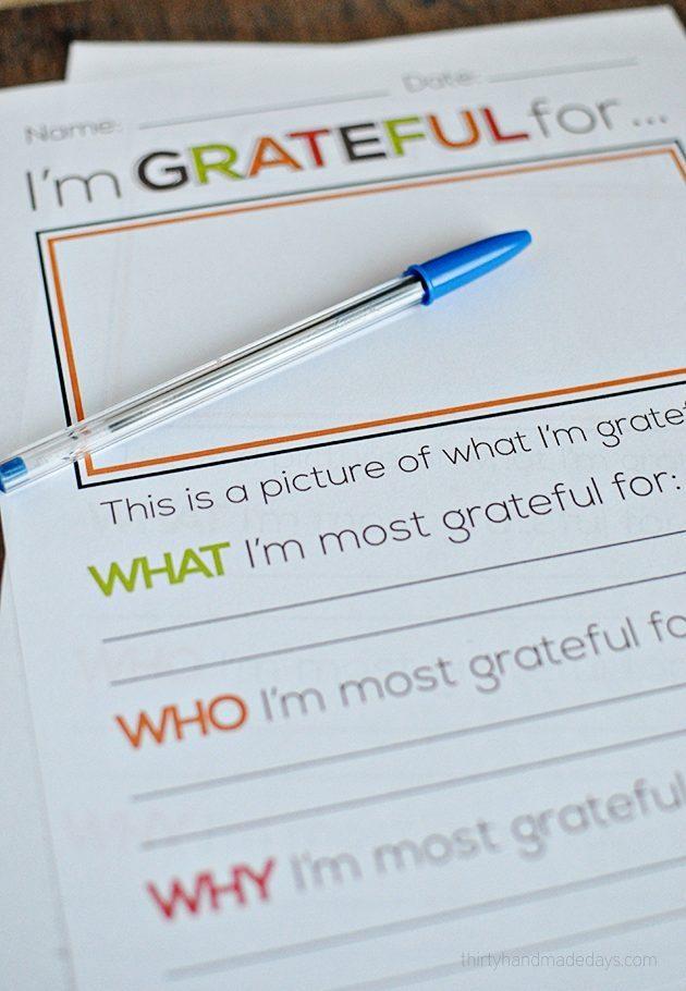 I'm grateful for.... Thanksgiving printable from www.thirtyhandmadedays.com