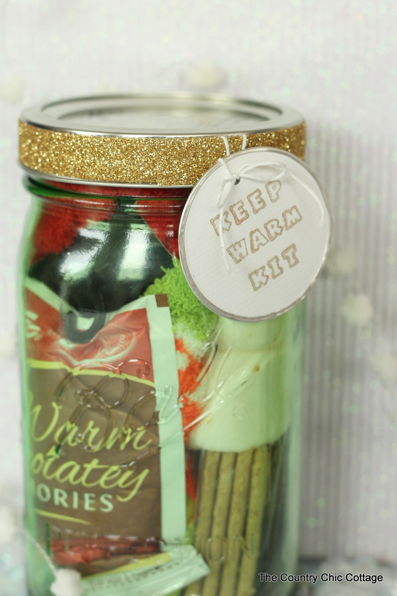 Keep Warm Kit - Gifts in a Jar .. a good Christmas gift idea for friends! Adding glitter tape via www.thirtyhandmadedays.com