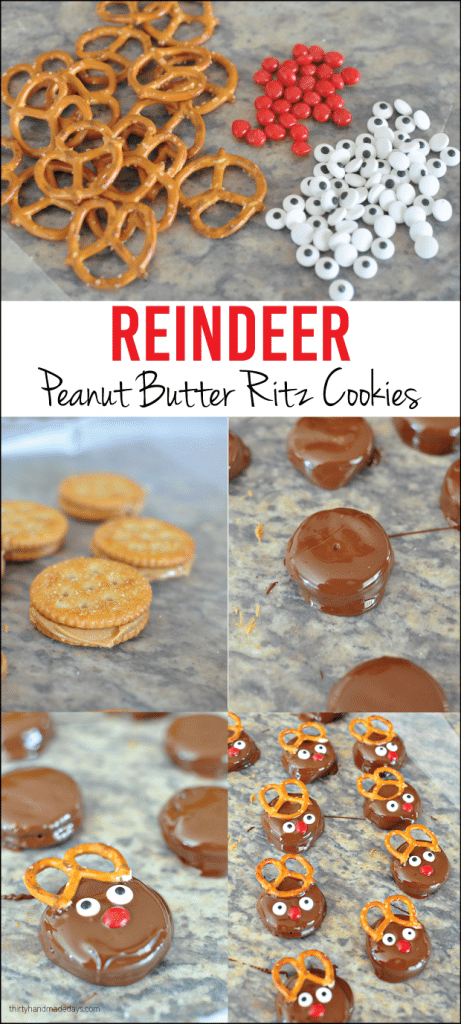 Step by step to reindeer peanut butter Ritz holiday cookies | Thirty Handmade Days