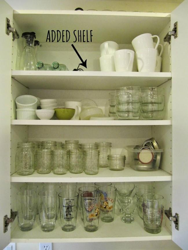 Add an extra shelf for kitchen storage