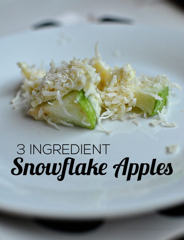 Snowflake Apples using just 3 ingredients - so easy to make and a fun treat for the holidays.