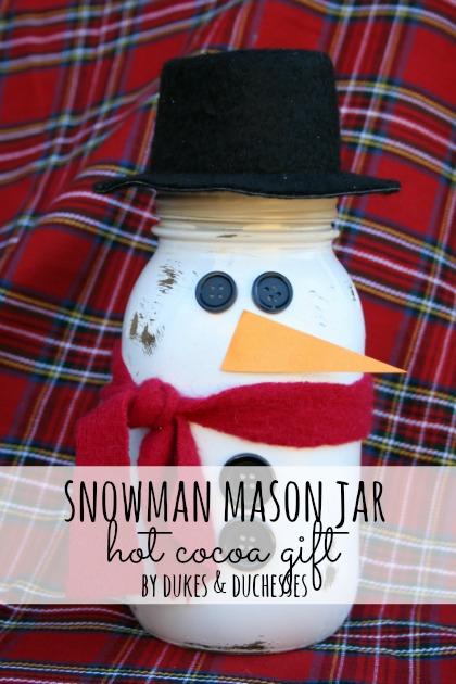 Snowman Mason Jar Hot Cocoa Gift via www.thirtyhandmadedays.com