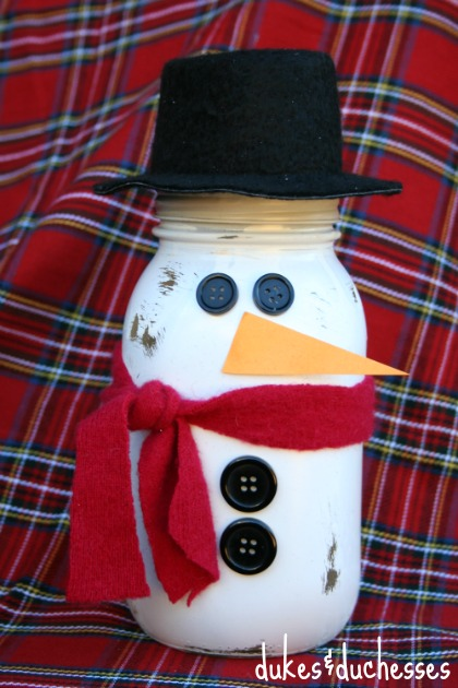 Snowman Mason Jar Hot Cocoa Gift - add the face via thirtyhandmadedays.com