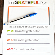 I'm Grateful For…Thanksgiving Printable