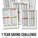 1 year saving challenge for adults and kids with free printables! www.thirtyhandmadedays.com