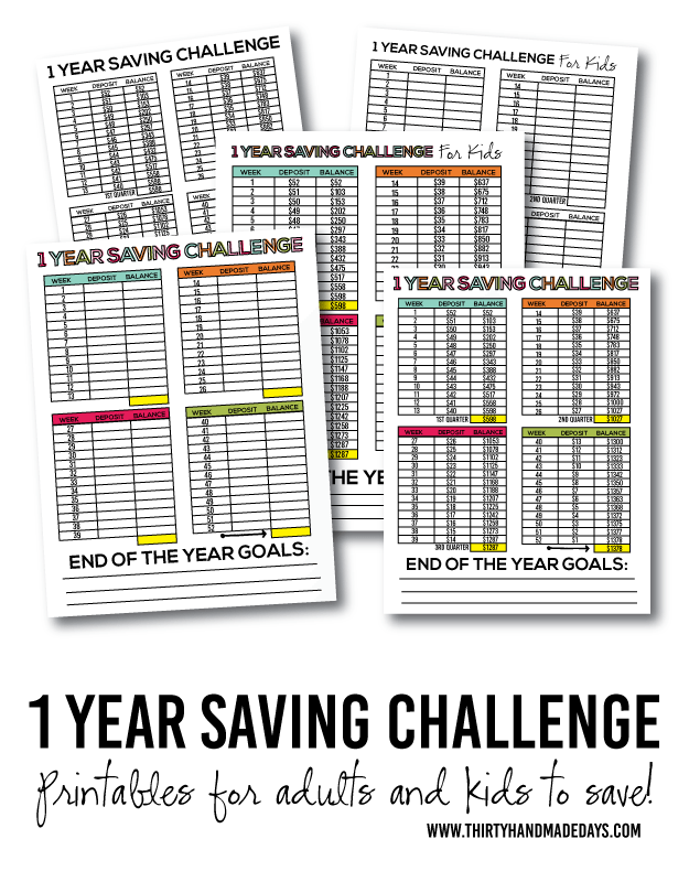 Download the adults 1 year saving challenge packet . Or the kids 1 ...