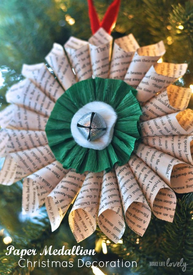 simple christmas decorations paper medallion - Paper Christmas Decorations To Make At Home