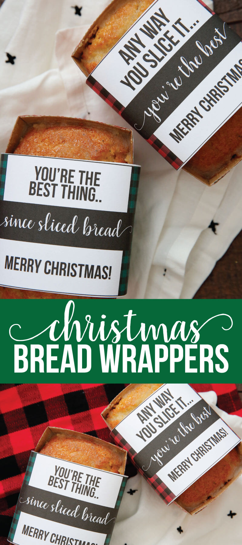 Christmas Bread Wrappers - use these cute printable wrappers to make your bread extra special. www.thirtyhandmadedays.com