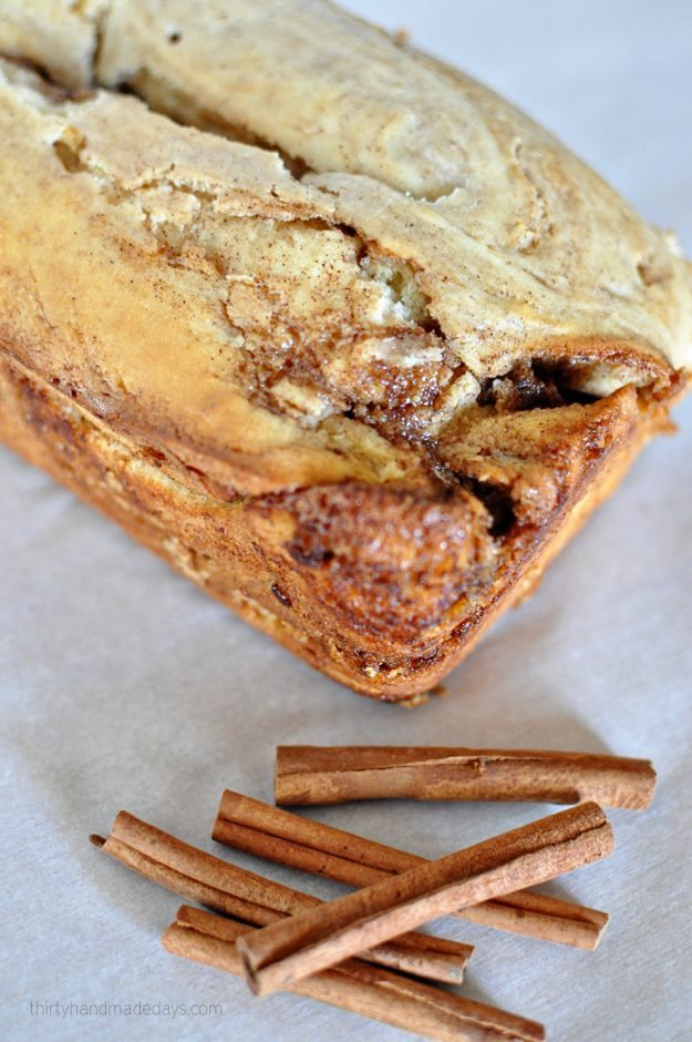 Easy to make quick bread- Cinnamon Roll Bread. The perfect bread for the holidays or anytime of year! Thirty Handmade Days