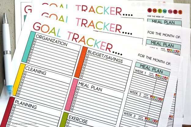 Printable Goal Trackers - sheets to help you track your goals for the new year.  Or any time of year! Featuring weekly and monthly, blank and with titles.  From www.thirtyhandmadedays.com