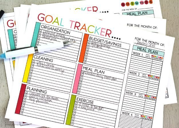 printable goal trackers sheets to help you track your goals for the new year
