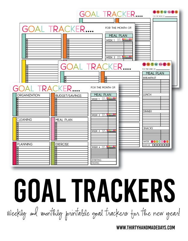 Printable Goals Tracker