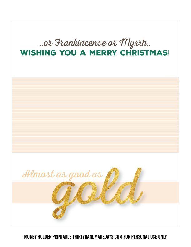 Printable Gold Christmas Money Card Holder www.thrityhandmadedays.com
