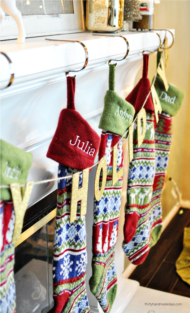 Our Christmas stockings for the mantel
