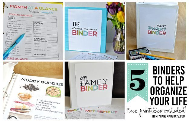 5 binders that will help you organize your life!! From www.thirtyhandmadedays.com