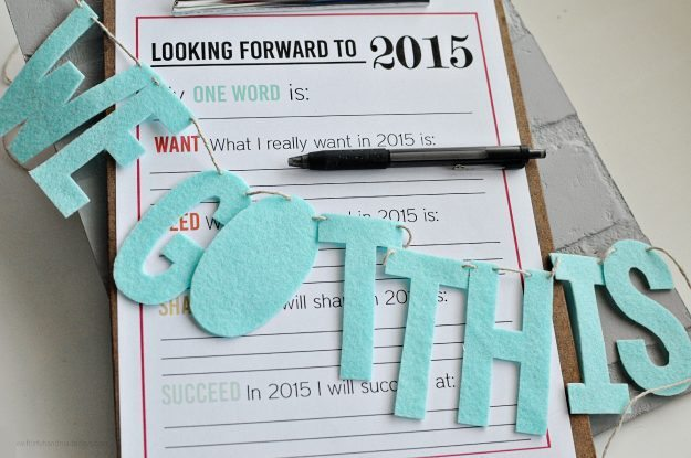 New Year's Resolutions for YOU - free printable for the new year from thirtyhandmadedays.com