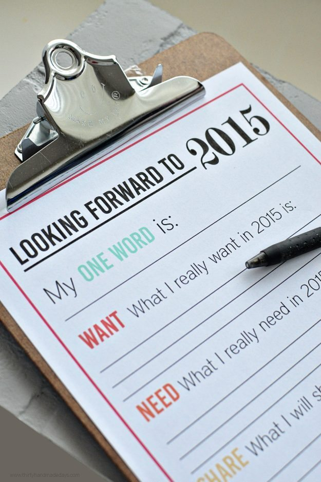 New Year's Resolutions for YOU - free printable for the new year from Thirty Handmade Days