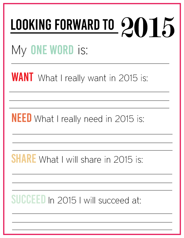 New Year's Resolutions for YOU - free printable for the new year - Thirty Handmade Days