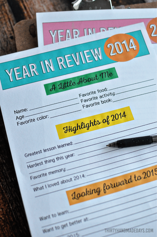 New Year's Resolutions and Year in Review for Kids - fill in the blanks and keep fort the future | Thirty Handmade Days