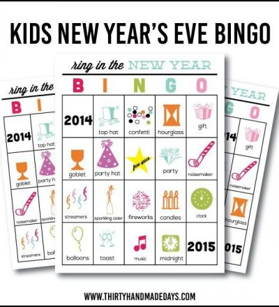 Printable New Year's Eve BINGO Sheets for Kids www.thirtyhandmadedays.com