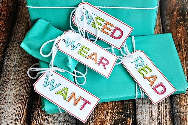 Simplifying Christmas - the Want, Need, Wear, Read idea with cute printable gift tags.  The best Christmas gift ideas! thirtyhandmadedays.com