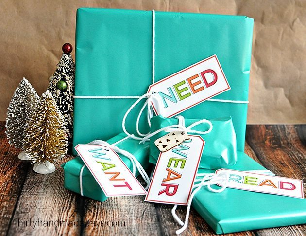 Simplifying Christmas - the Want, Need, Wear, Read idea with cute printable gift tags | Thirty Handmade Days