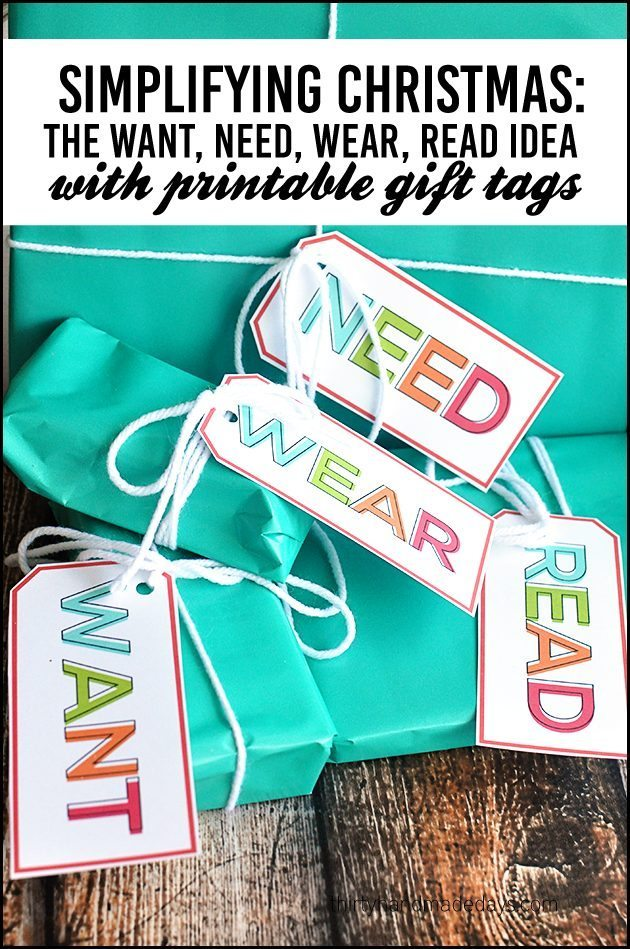 Simplifying Christmas - the Want, Need, Wear, Read idea with cute printable gift tags www.thirtyhandmadedays.com
