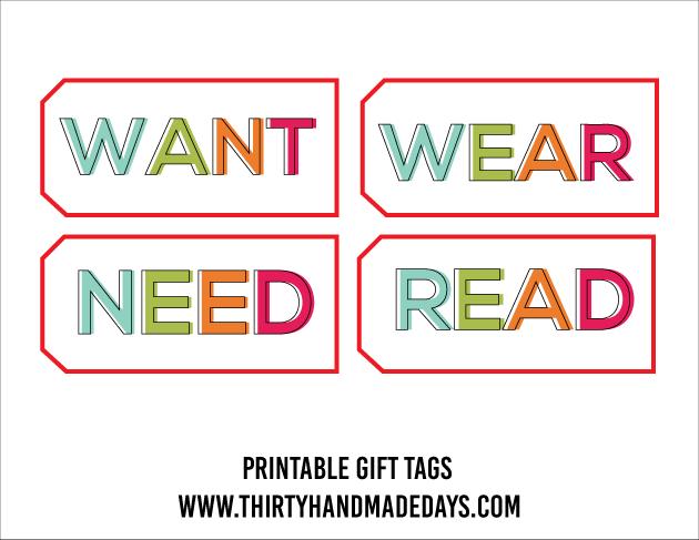 Want need wear read tags for Christmas www.thirtyhandmadedays.com