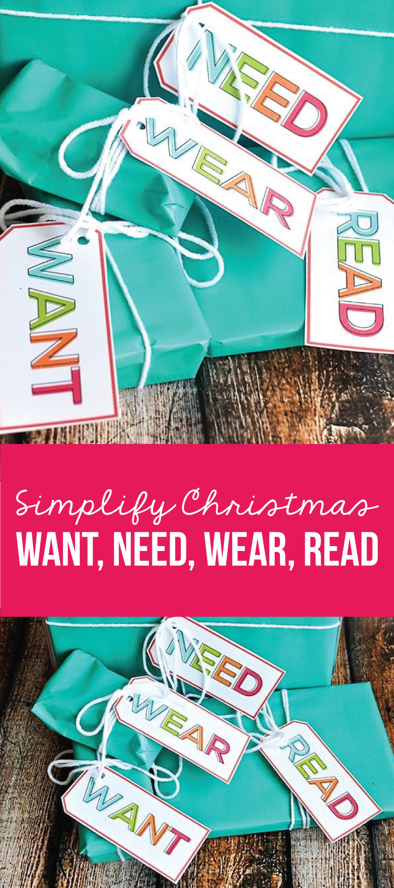 Christmas Gift Ideas - Want, Need, Wear, Read - How to simplify Christmas www.thirtyhandmadedays.com