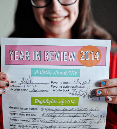 New Year's Resolutions and Year in Review for Kids - fill in the blanks and keep fort the future thirtyhandmadedays.com