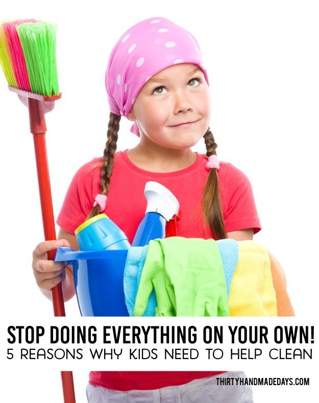 5 Reasons Why Kids Need to Help Clean! With printable chores by age. www.thirtyhandmadedays.com