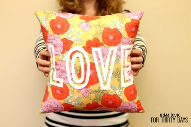Floral Love Pillow with Cut Out Block Letters
