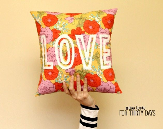 Floral Pillow With Block Cut Out Letters DIY