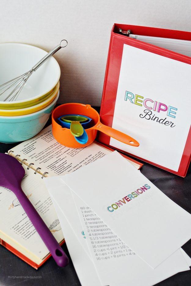 Mini Recipe Binder - perfect little binder to store favorite family recipes from thirtyhandmadedays.com