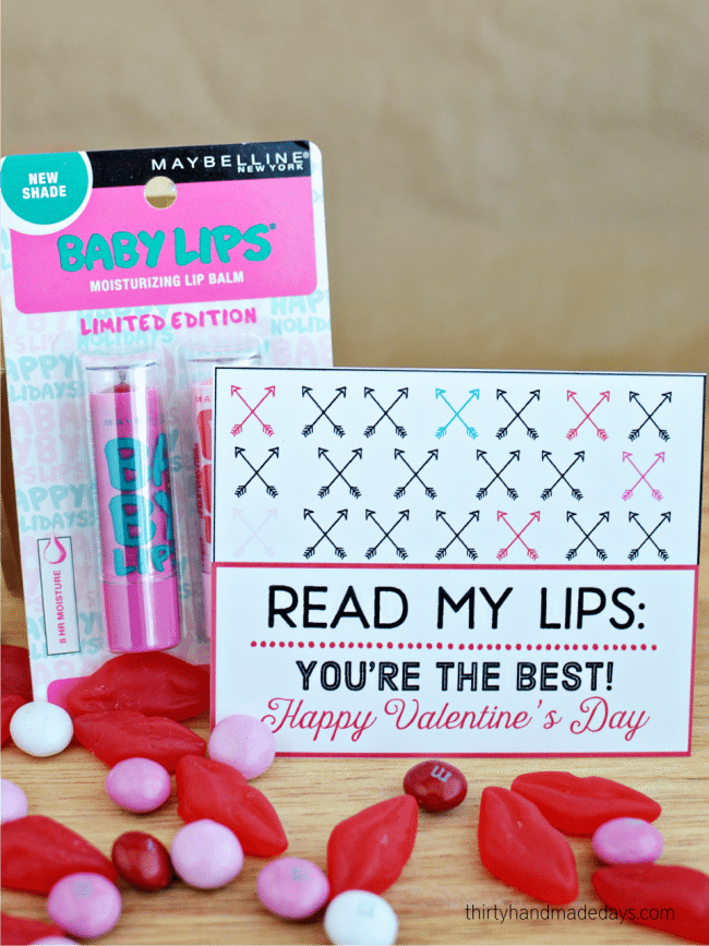 Adorable Lip Balm Valentine with printable from Thirty Handmade Days