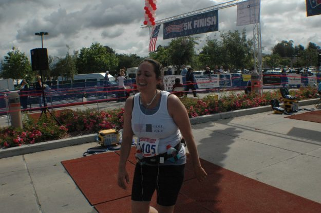 Crossing the finish line of the 1/2 marathon!