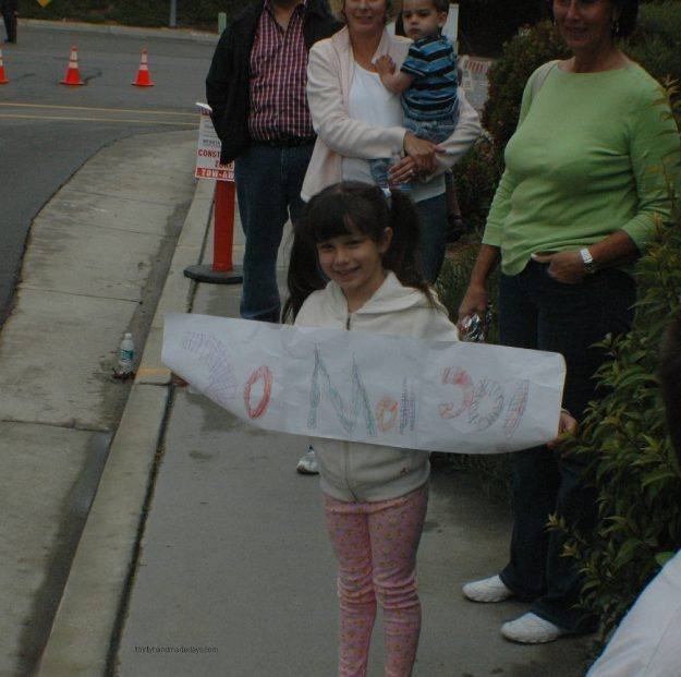 Cheering on mom while running the 1/2 marathon!