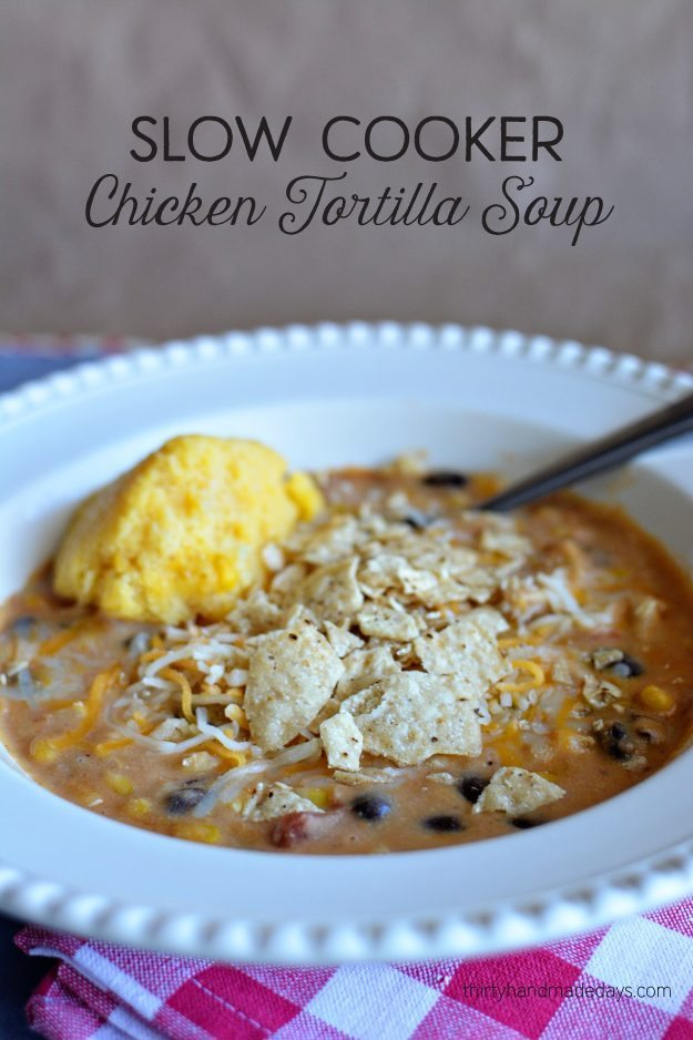 Slow Cooker Chicken Tortilla Soup - simple to make and tastes amazing. A favorite slow cooker recipe! www.thirtyhandmadedays.com