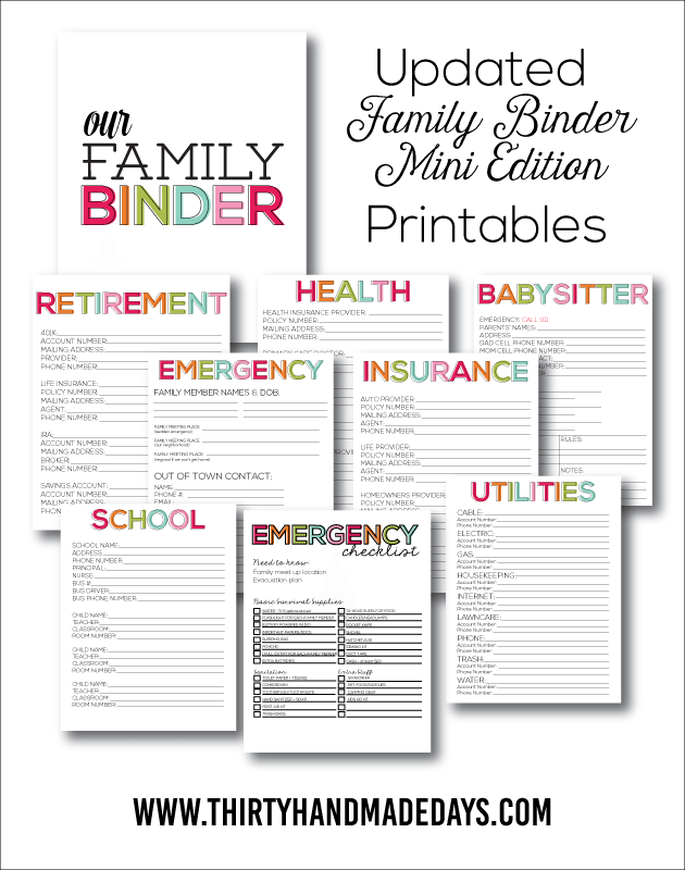 Updated Family Binder, Mini Edition - the perfect little mini binder to store everything in one spot! www.thirtyhandmadedays.com