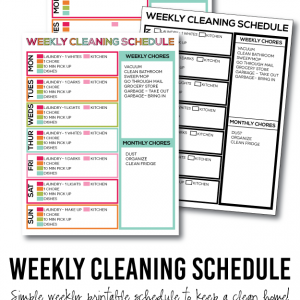 A Simple List to Keep Your Home Clean: Printable Weekly Cleaning Schedule from thirtyhandmadedays.com
