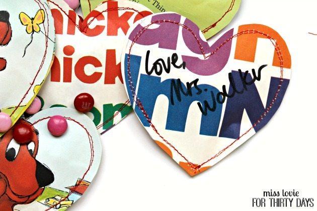 14 Children's Book Page Heart Pouch Valentines