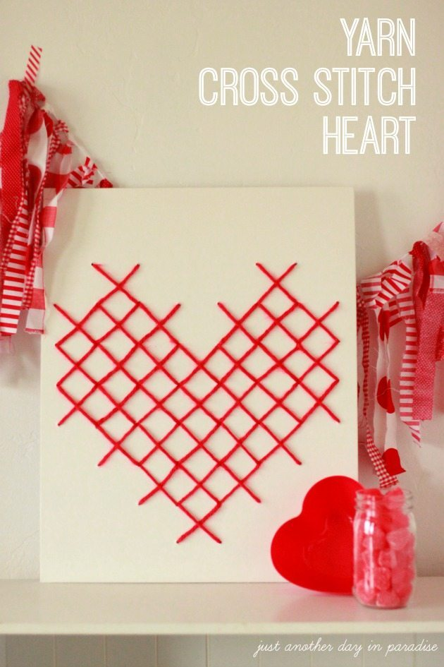 Yarn Cross Stitch Heart