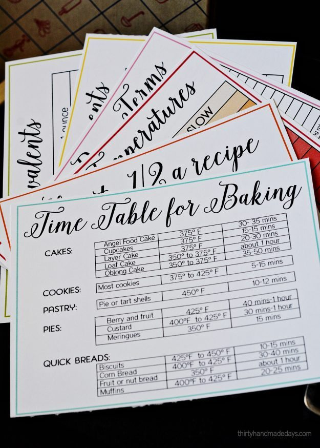 Printable baking and cooking cheats for Homemade cookbooks template