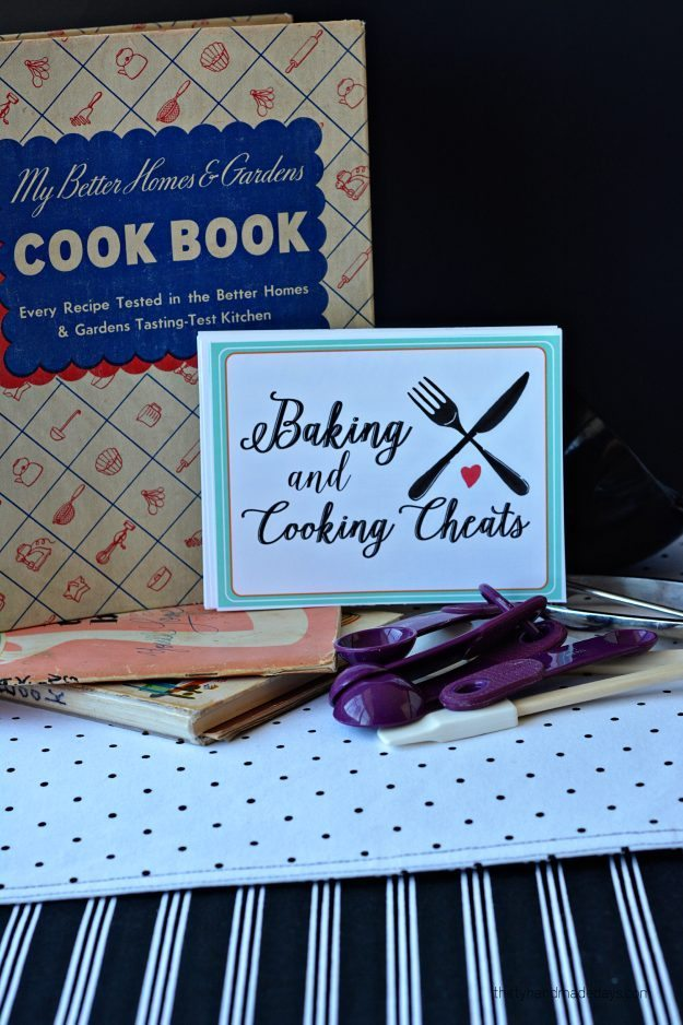 Printable cooking and baking cheats- - free cards full of information thirtyhandmadedays.com