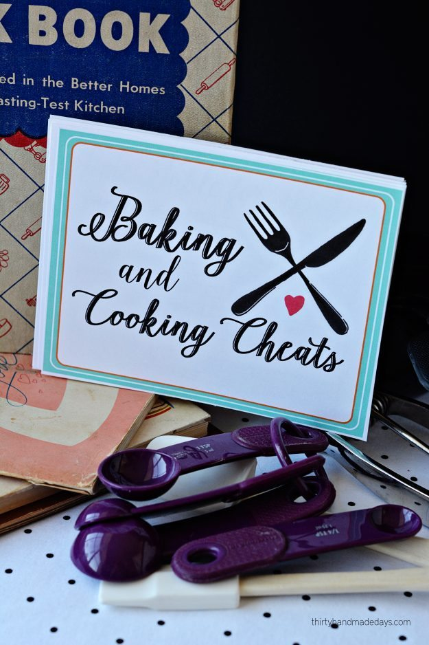 printable baking and cooking cheats