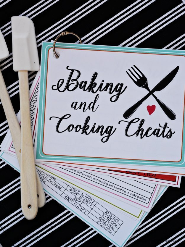 Printable cooking and baking cheats- free cards full of information