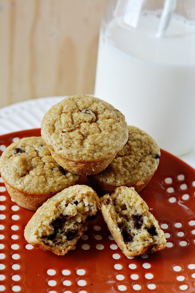 Simple and healthy banana oatmeal blender muffins.  Give them a try!  www.thirtyhandmadedays.com
